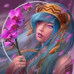Обои Портрет девушки с орхидеей, by Ataraxicare