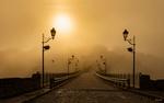 Обои Мост с фонарями, ведущий к крепости, желтым туманным утром, Каменец Подольск, фотограф Slavik55