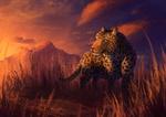 Обои Леопард стоит на фоне заката, by CreeperMan0508