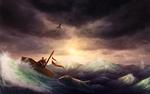 Обои Лиса плывет по морю на корабле, by CreeperMan0508