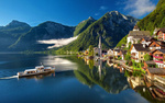 Обои Поселок Гальштат / Халльштатт / Hallstatt на западном берегу одноименного озера в Австрии / Austria