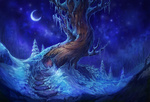 Обои Ступеньки к зимнему волшебному дереву на фоне ночного неба с луной, by Kate Zhbanova