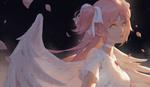 Обои Девушка - ангел с розовыми глазами и волосами