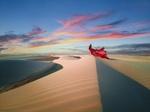 Обои Модель в красном развевающемся платье стоит в пустыне, фотограф Jvdas Berra