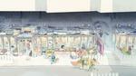 Обои Сказочная торговая улица с людьми и животными, by Akitsu Taira