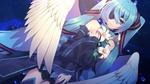 Обои Крылатая vocaloid Hatsune Miku / вокалоид Хатсуне Мику с повязкой на глазу и лилиями в руках на фоне ночного неба, by Matsuda Toki