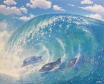 Обои Дельфины на морской волне
