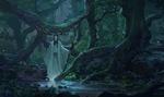 Обои Японский жрец-екай в маске стоит у ручья в заповедном лесу во время исполнения ритуала
