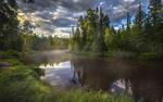 Обои Тихая река среди лесных берегов, фотограф T. Borisova