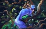 Обои Сказочный голубой кот на дереве, by Maria Pechenkina