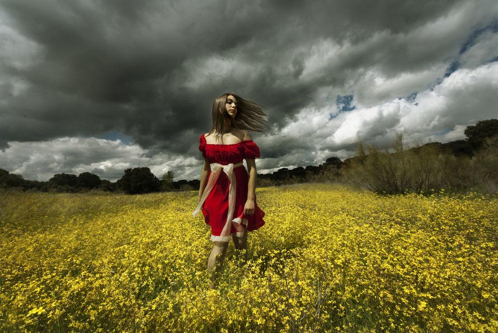 Обои для рабочего стола Девушка в красном платье стоит на поле, фотограф Jesus Solana