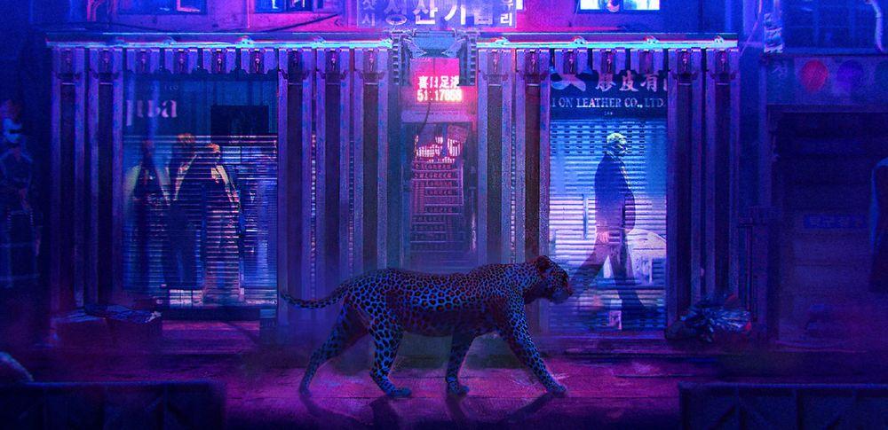 Обои для рабочего стола Леопард идет по улице вечернего города, by Sergii Golotovskiy