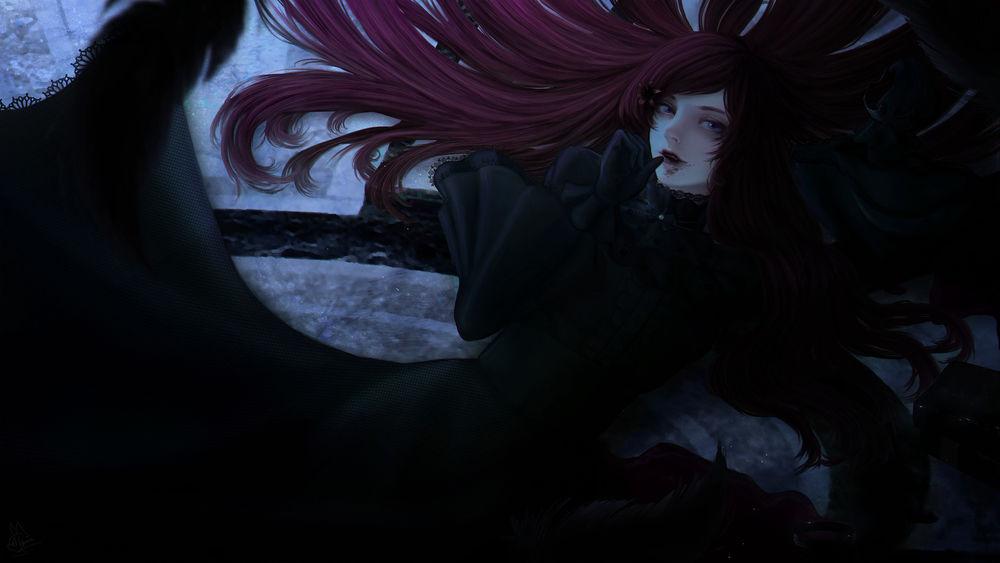 Обои для рабочего стола Девушка-вампир в черном платье, by Alqmia