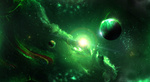 Обои Свет звезды и планеты в зеленой космической туманности