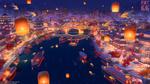 Обои Романтический город с рекой и рыбками, парящими в воздухе горящими фонарями, by Arseniy Chebynkin