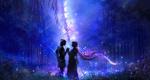 Обои Влюбленные держатся за руки, стоя на поляне в ночном лесу, by 00