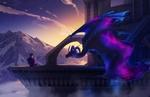 Обои Парень и дракон с космической кожей, by turnipBerry