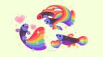 Обои Цветные рыбки на белом фоне, by pikaole