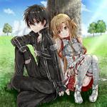 Обои Kirito / Кирито и Asuna / Асуна из аниме Sword Art Online / Мастера Меча Онлайн