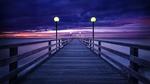 Обои Деревянный пирс в вечернем море