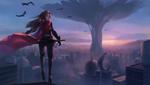 Обои Девушка с мечом на крыше здания в фантастическом городе на рассвете, by Allen Hsieh