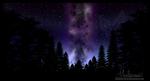 Обои Млечный путь на небе среди деревьев, by MaelstromArt