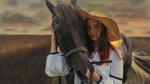 Обои Девушка Xenia стоит рядом с лошадью. Фотограф Лосев Иван