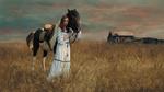Обои Девушка стоит рядом с лошадью на поле. Фотограф Лосев Иван