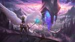 Обои Предводительница валькирий смотрит как ее воины летят к фантастическому замку в небе, by Juhyung Kang