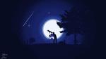 Обои Человек смотрит через телескоп на ночное небо, рядом сидит у палатки другой человек, by dridiyassin