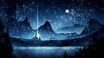 Обои Замок на фоне гор и природы под ночным звездным небом, by kvacm