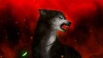 Обои Гроэный волк на красном фоне, by Ejlen