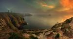 Обои Фотограф снимает скалистый берег полуострова Cap Frehel / Кап Фреэль в тумане, на котором стоит маяк, France / Франция, фотограф Krzysztof Browko