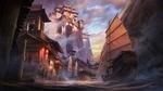 Обои Средневековый китайский замок на высокой скале на берегу залива на фоне пасмурного неба и парусные лодки плывущие вдоль набережной с домами, освещаемыми красными фонарями, by Karine Villette