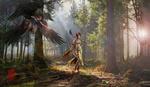 Обои Девушка-лучник стоит в Вороньем Лесу / Crow Forest, by Bram Leegwater