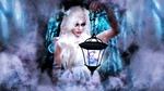 Обои Колдунья Ephyra / Эфира стоит в тумане со светильником, горящим магическим светом, by Ness Torya