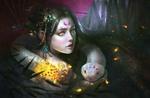 Обои Богиня змей на фоне темного леса, by David Kuo
