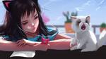 Обои Девочка сидит рядом с белым котенком