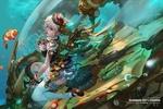 Обои Steampunk Girl / Стимпанк-Девушка среди рыб в подводном аппарате, by Antilous chao