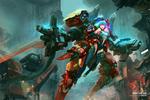 Обои Девушка-солдат Loli / Лоли, управляющая роботом, ведет бой на улице города, by Antilous chao