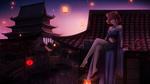 Обои Девушка-кошка сидит на крыше пагоды ночью, by Alqmia