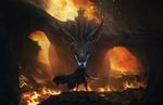 Обои Дракон Viserion и Jon Snow / Джон Сноу из сериала Game of Thrones / Игра престолов, by Cloud _D