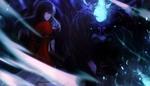 Обои Демон смотрит на девушку Katsu Me Han, by Alqmia