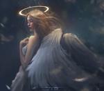 Обои Девушка - ангел с ореолом над головой, by Trung Bui