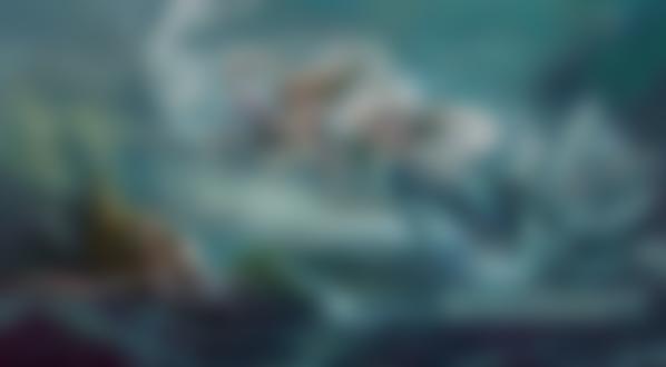 Обои Русалки и дельфин в штормовом океане, by Rongrong Wang