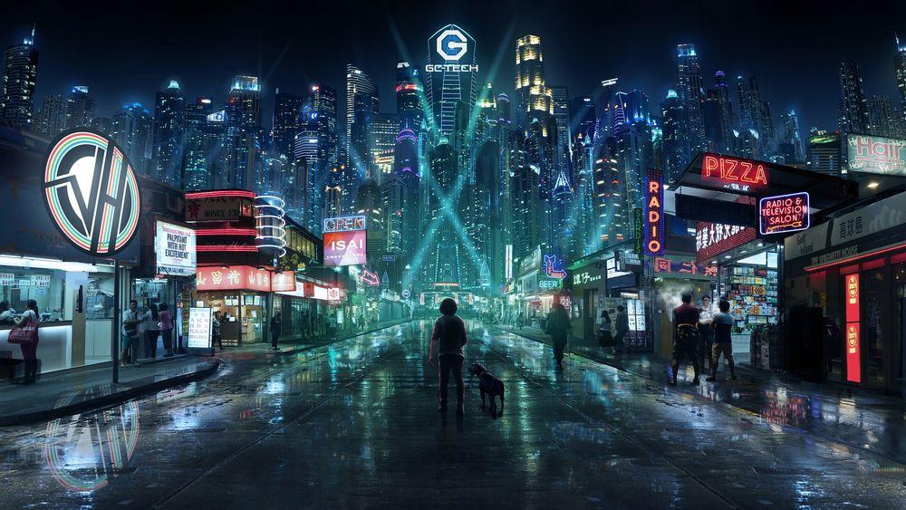 Обои для рабочего стола Люди на улице вечернего города будущего, by Vladimir Mladenovic