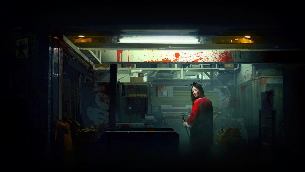 Обои для рабочего стола Onna-Bugeysya / Женщина-самурай стоит в помещение, перепачканном кровью, by Thomas Dubois