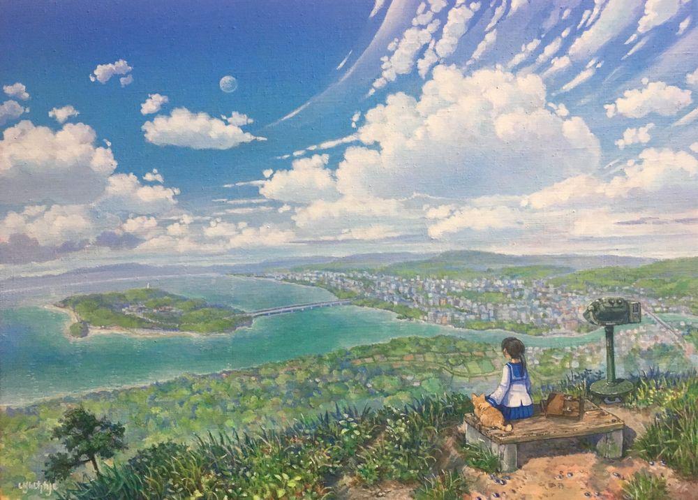 Обои для рабочего стола Девочка с кошкой рядом сидит на фоне панорамного вида на море и город под облачным небом