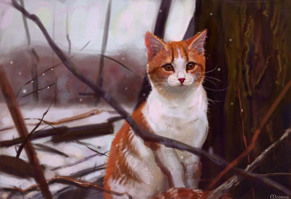 Обои для рабочего стола Кошка сидит около дерева, by Meorow