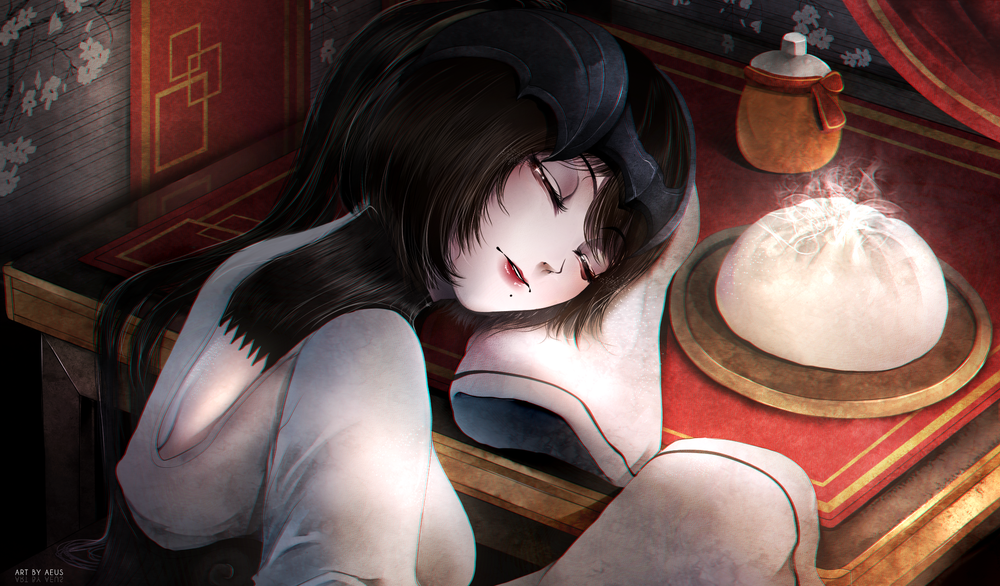 Обои для рабочего стола Спящая на столе темноволосая девушка, by Aeusthetic